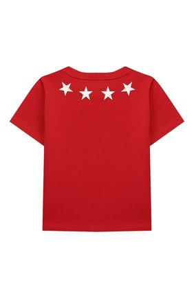 Детская хлопковая футболка GIVENCHY красного цвета, арт. H25095/4A-5A | Фото 2