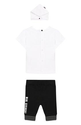 Детский комплект из футболки с брюками и банданы GIVENCHY черно-белого цвета, арт. H98048 | Фото 2