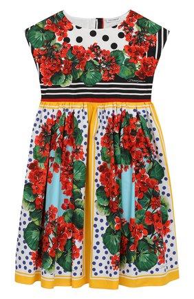 Детское хлопковое платье DOLCE & GABBANA разноцветного цвета, арт. L51DH5/LA306/2-6 | Фото 1