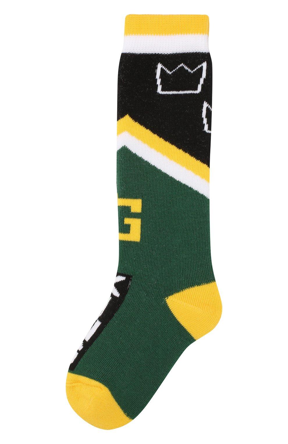 Детские хлопковые носки DOLCE & GABBANA зеленого цвета, арт. LB6A73/JACDA | Фото 1