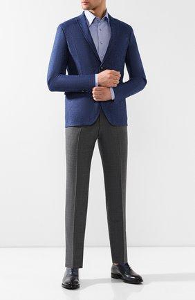 Мужская хлопковая рубашка ZILLI синего цвета, арт. MFR-01076-MERCU/RZ01 | Фото 2