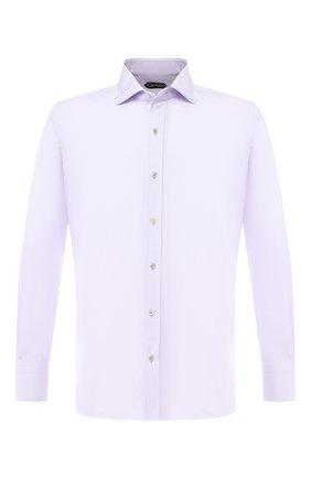 Мужская хлопковая сорочка с воротником кент TOM FORD сиреневого цвета, арт. 5FT011/94S1AX | Фото 1