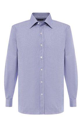 Мужская хлопковая сорочка с воротником кент TOM FORD синего цвета, арт. 5FT245/94C2JE | Фото 1