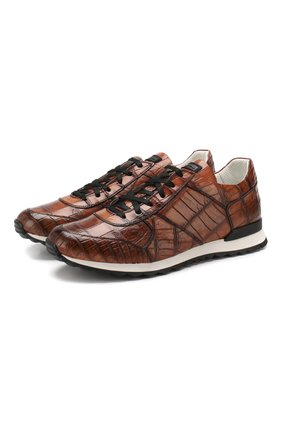 Мужские кроссовки из кожи крокодила KITON коричневого цвета, арт. USSVLASN00102/CNIL | Фото 1