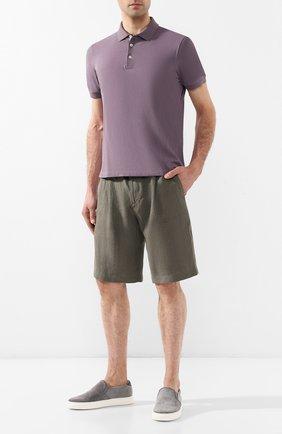 Мужское хлопковое поло BRUNELLO CUCINELLI сиреневого цвета, арт. M0T638307 | Фото 2