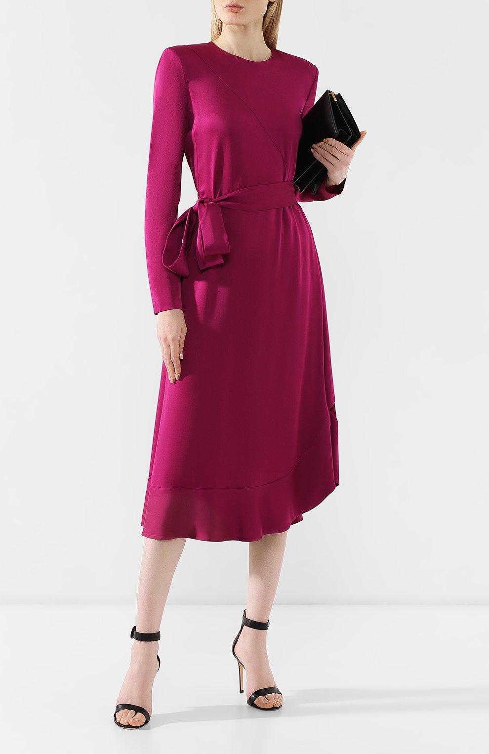 Женское платье-миди с поясом GIVENCHY фиолетового цвета, арт. BW20GJ10F4   Фото 2