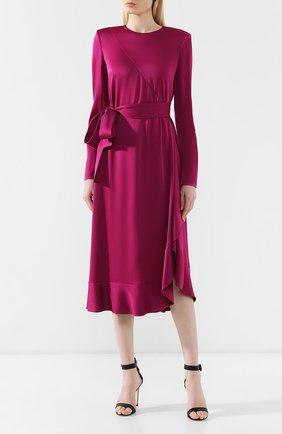 Женское платье-миди с поясом GIVENCHY фиолетового цвета, арт. BW20GJ10F4   Фото 3
