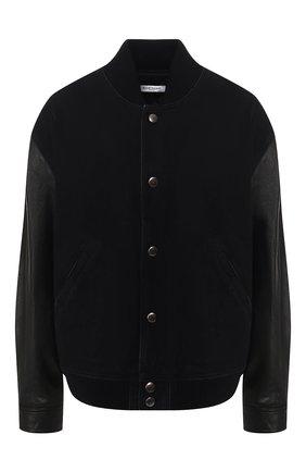 Джинсовая куртка с кожаными рукавами | Фото №1
