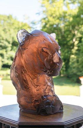 Мужского скульптура голова пантеры by patrick villas DAUM коричневого цвета, арт. 05607 | Фото 2