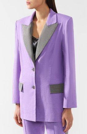 Жакет из смеси льна и вискозы L`Enigme фиолетовый | Фото №3