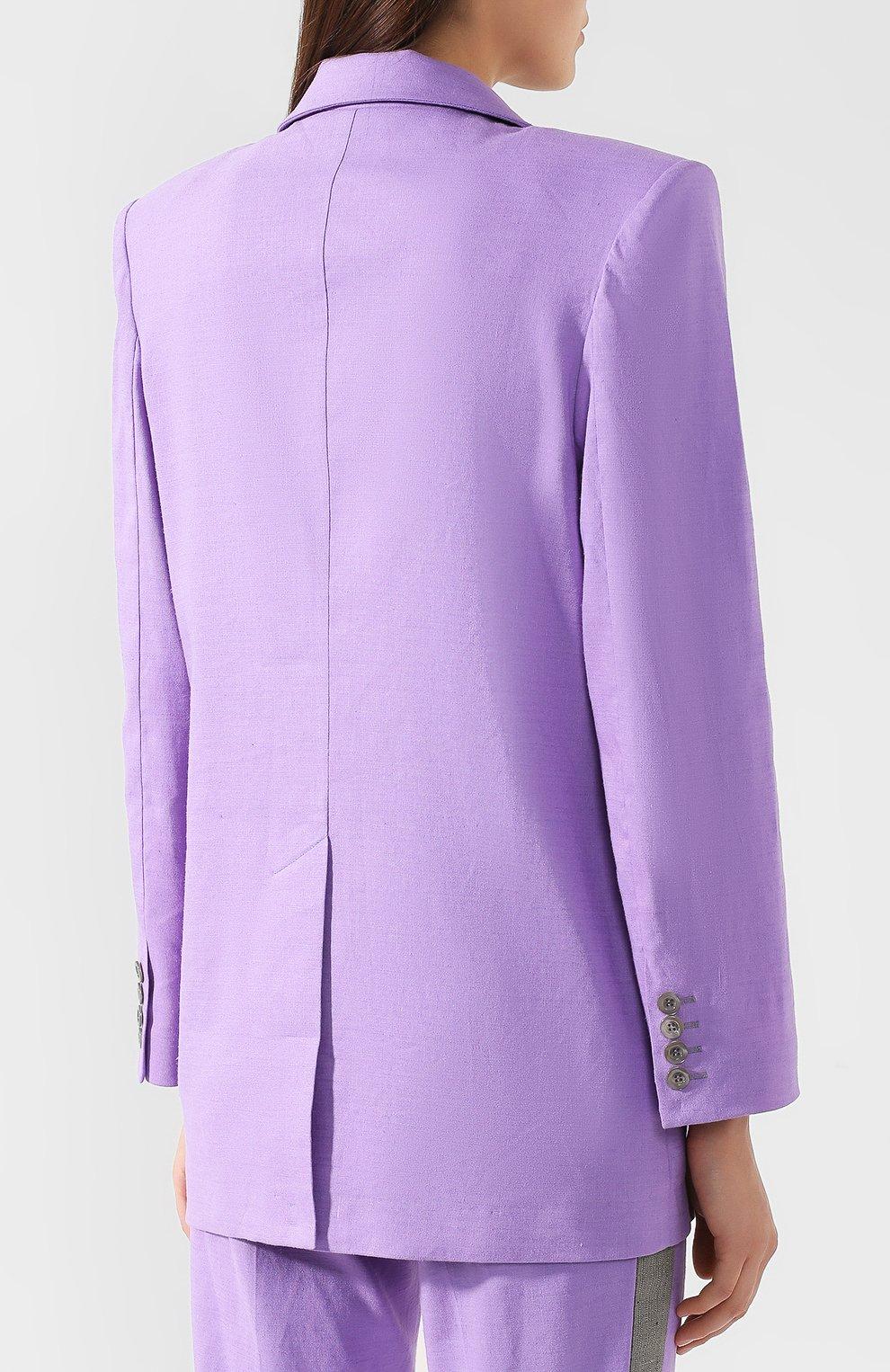 Жакет из смеси льна и вискозы L`Enigme фиолетовый | Фото №4