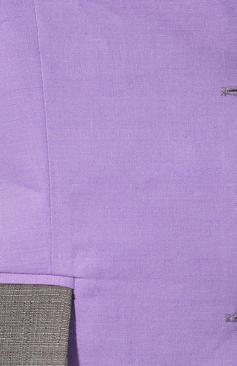 Жакет из смеси льна и вискозы L`Enigme фиолетовый | Фото №5