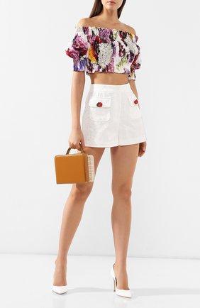Женские шорты из смеси хлопка и шелка DOLCE & GABBANA белого цвета, арт. FTBC0T/FJM04 | Фото 2