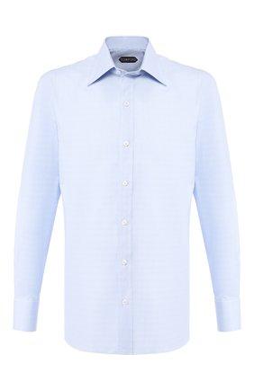 Мужская хлопковая сорочка с воротником кент TOM FORD синего цвета, арт. 5FT848/94C1JE | Фото 1
