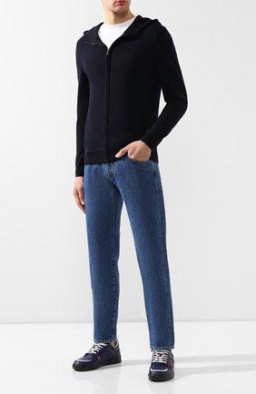Мужские кожаные кеды BOTTEGA VENETA синего цвета, арт. 496904/VT04G | Фото 2
