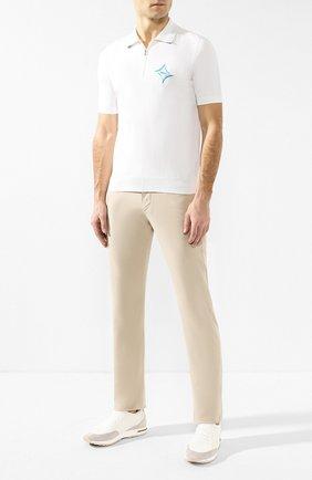 Мужское поло из смеси хлопка и шелка ZILLI белого цвета, арт. MBR-PZ009-C0SE1/MC01 | Фото 2