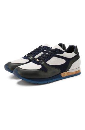 Мужские кожаные кроссовки ZILLI темно-синего цвета, арт. MDR-T050/003 | Фото 1