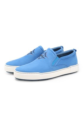 Мужские кожаные слипоны ZILLI голубого цвета, арт. MDR-T038/001 | Фото 1