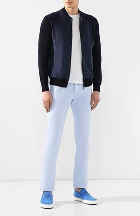 Мужские кожаные слипоны ZILLI голубого цвета, арт. MDR-T038/001 | Фото 2