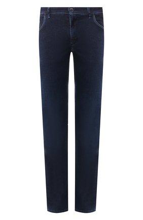 Мужские джинсы с отделкой из кожи аллигатора ZILLI темно-синего цвета, арт. MCR-00010-DEJA1/R001/AMIS | Фото 1