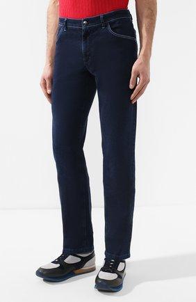 Мужские джинсы с отделкой из кожи аллигатора ZILLI темно-синего цвета, арт. MCR-00010-DEJA1/R001/AMIS | Фото 3