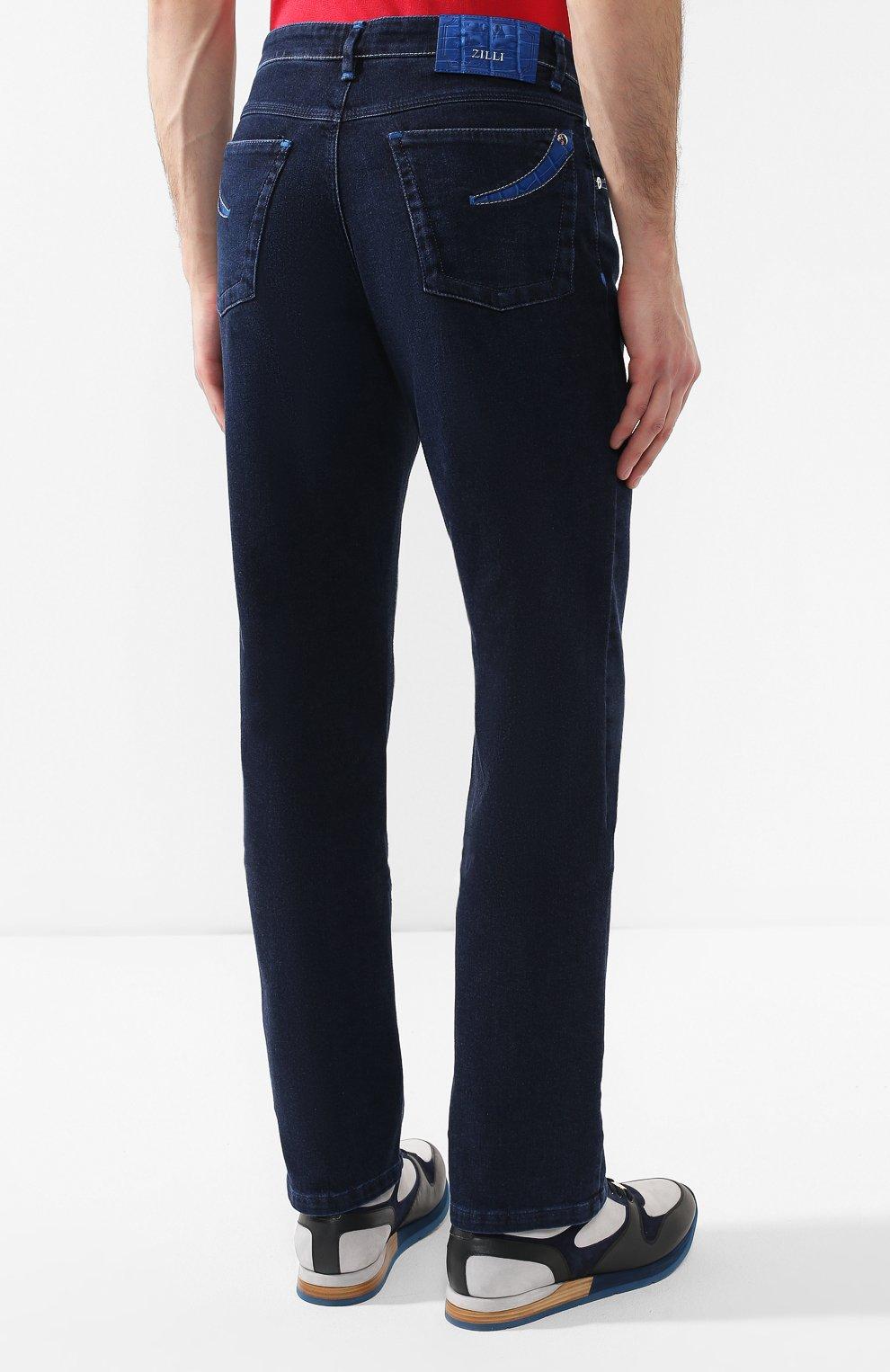 Мужские джинсы с отделкой из кожи аллигатора ZILLI темно-синего цвета, арт. MCR-00010-DEJA1/R001/AMIS | Фото 4