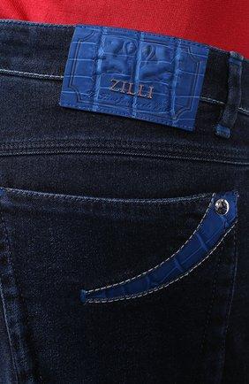 Мужские джинсы с отделкой из кожи аллигатора ZILLI темно-синего цвета, арт. MCR-00010-DEJA1/R001/AMIS | Фото 5