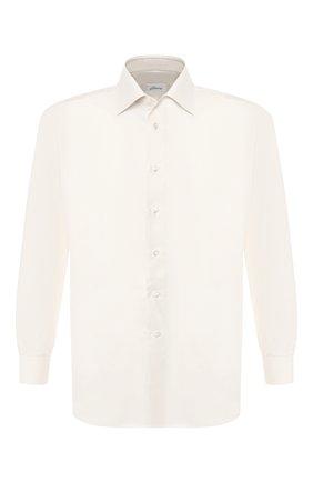 Мужская сорочка из смеси хлопка и шелка BRIONI кремвого цвета, арт. RCLU1G/P804R | Фото 1