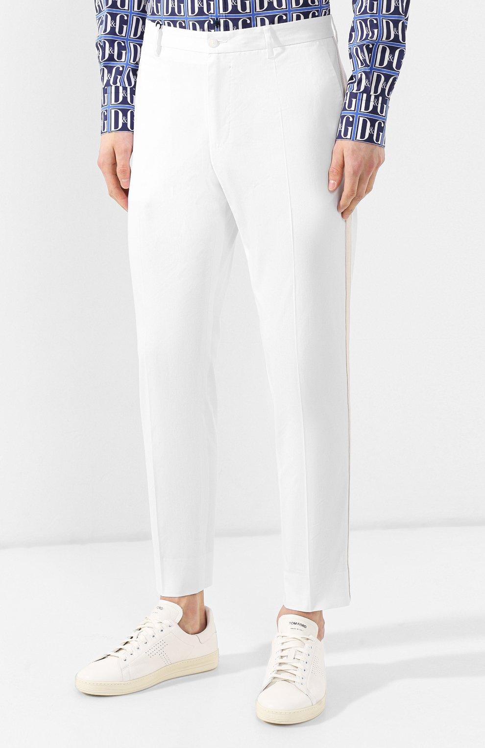 Хлопковые брюки Dolce & Gabbana  белые | Фото №3
