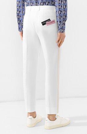 Хлопковые брюки Dolce & Gabbana  белые | Фото №4