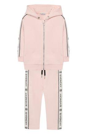 Детский комплект из хлопкового кардигана и брюк GIVENCHY розового цвета, арт. H08016/2A-3A | Фото 1