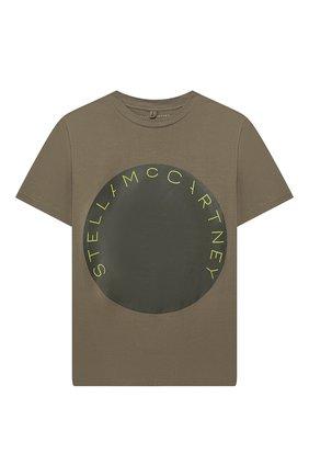 Детская хлопковая футболка STELLA MCCARTNEY хаки цвета, арт. 539756/SMJ08 | Фото 1