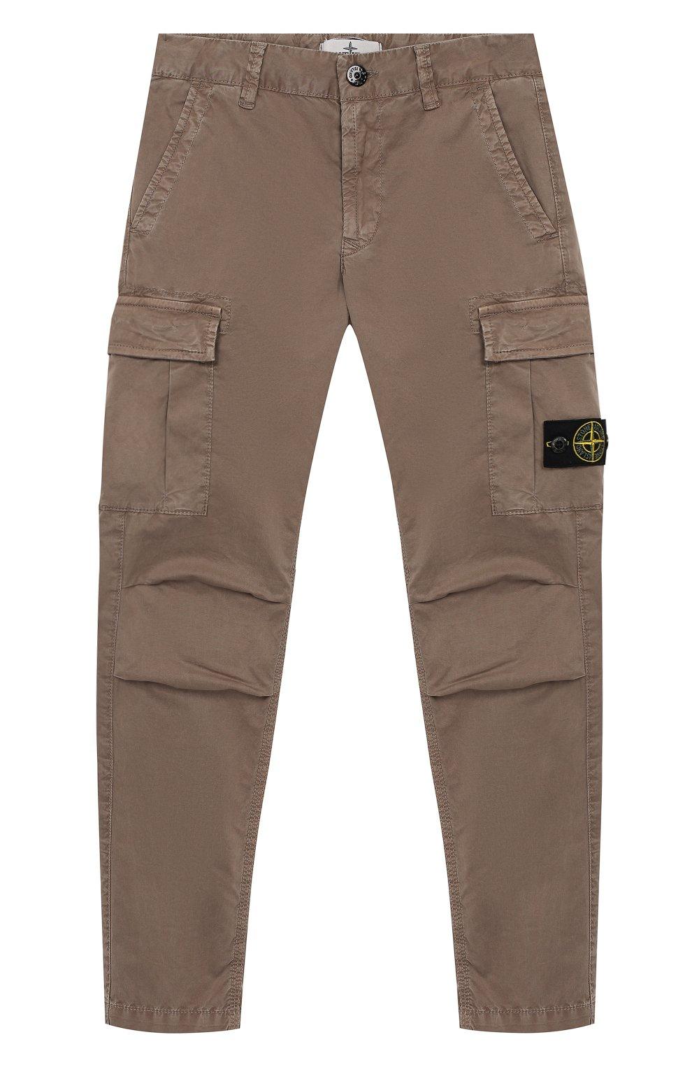 43f0de979ca Детские брюки карго из хлопка STONE ISLAND бежевого цвета — купить ...