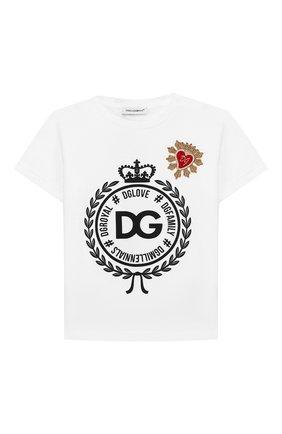 Детский хлопковая футболка DOLCE & GABBANA белого цвета, арт. L2JTBE/G7RAW | Фото 1