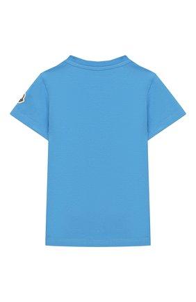 Детский хлопковая футболка MONCLER ENFANT голубого цвета, арт. E1-951-80254-50-8790A | Фото 2
