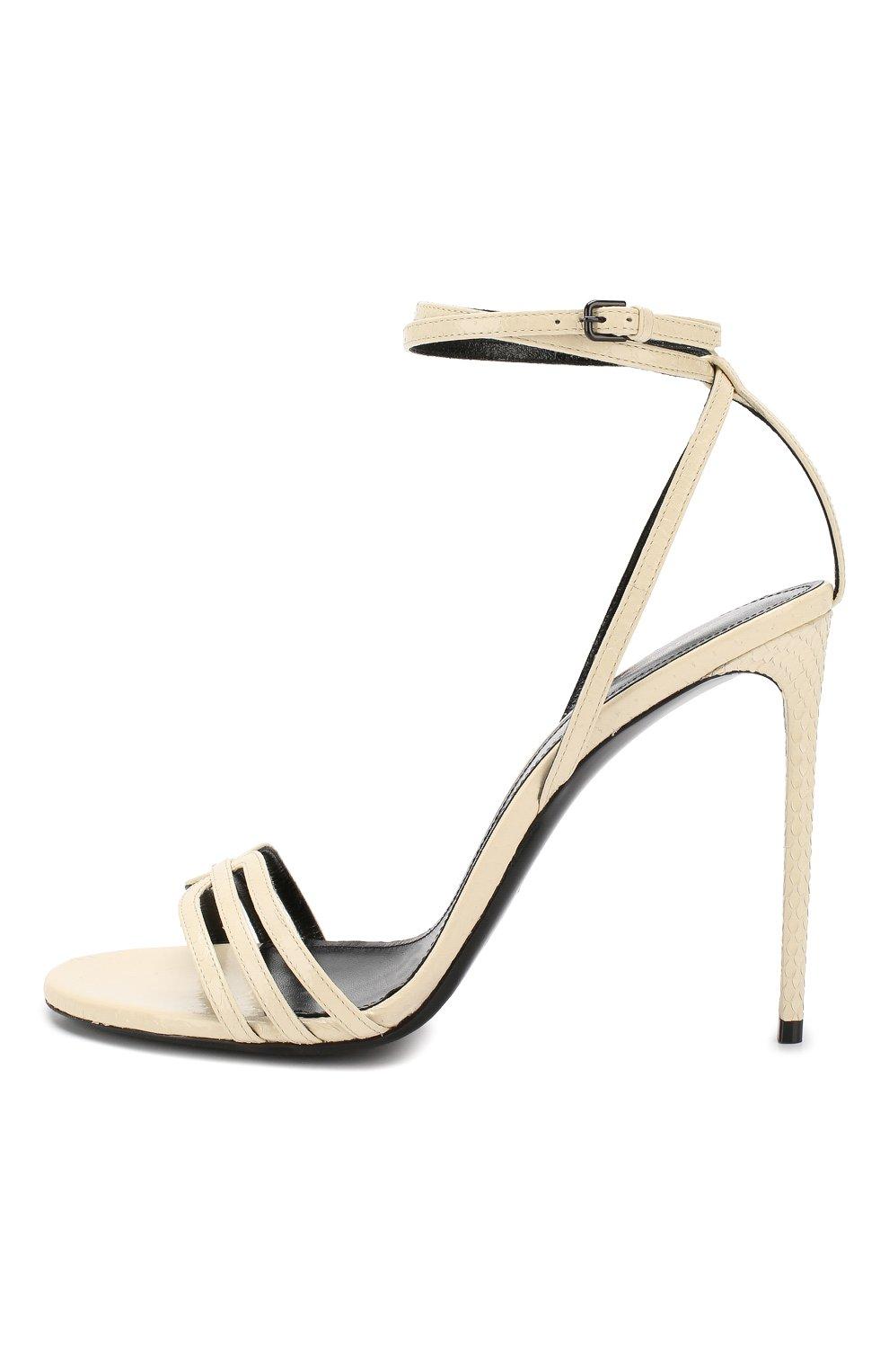 Кожаные босоножки Amber Saint Laurent белые | Фото №3