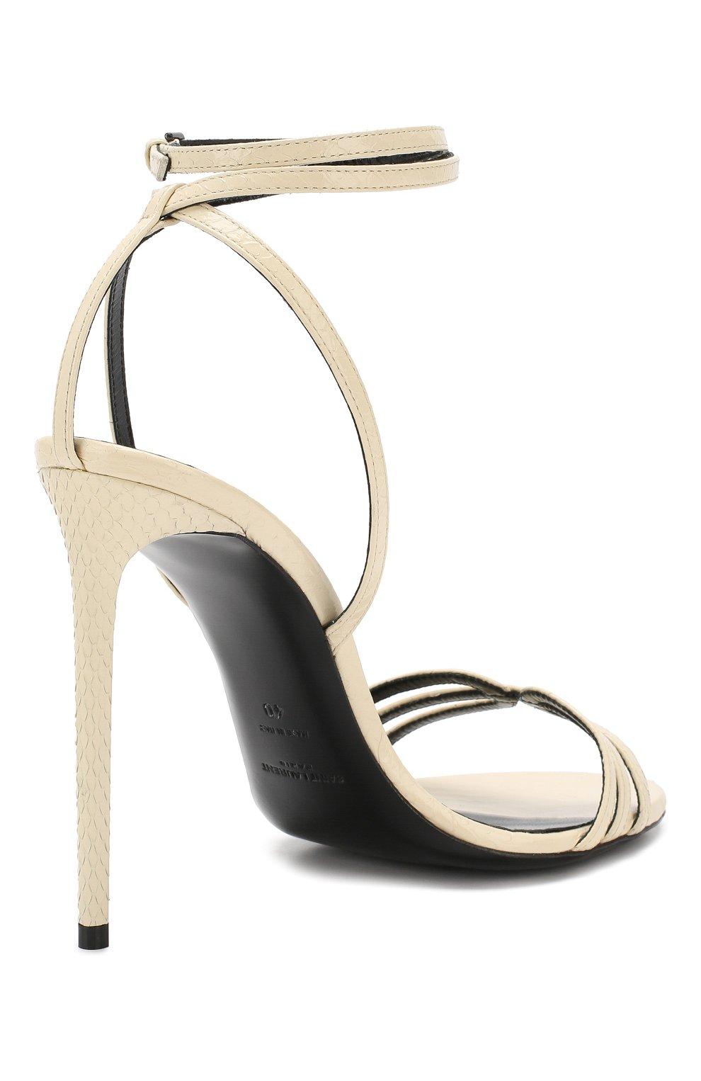 Кожаные босоножки Amber Saint Laurent белые | Фото №4