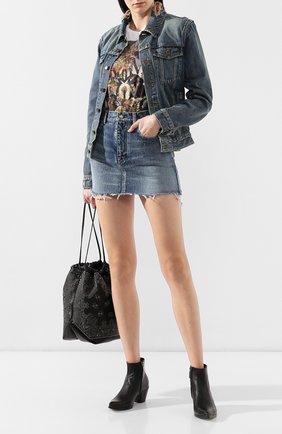 Женские кожаные ботинки lukas SAINT LAURENT черного цвета, арт. 558996/0Z000 | Фото 2