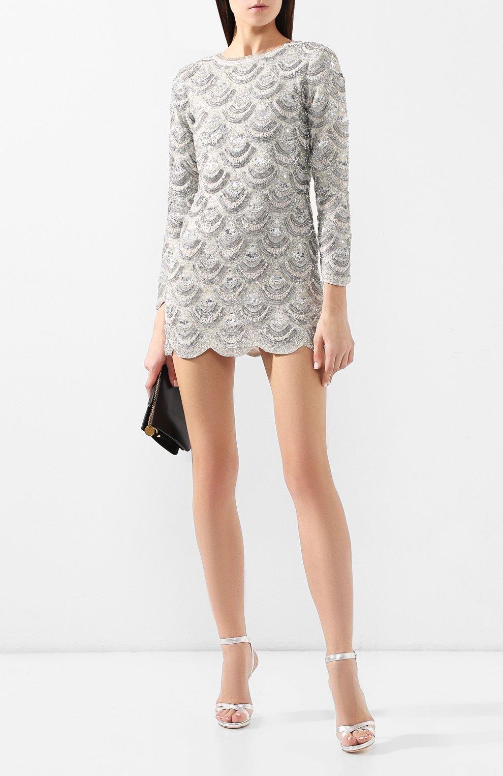 Мини-платье Retrofête серебряное | Фото №2