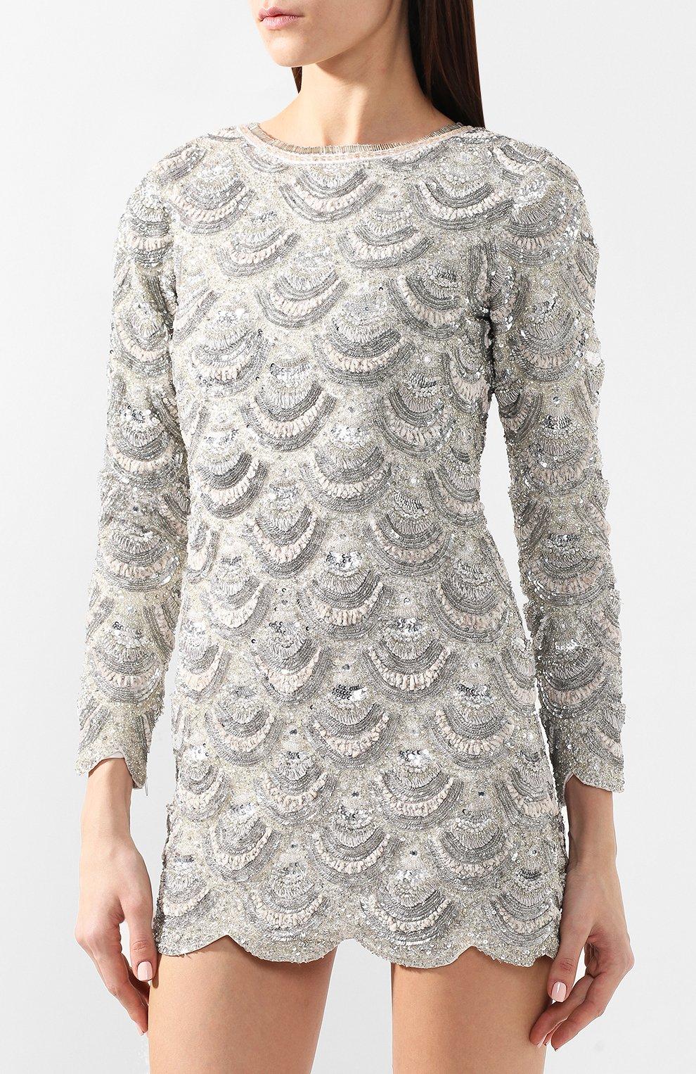 Мини-платье Retrofête серебряное | Фото №3