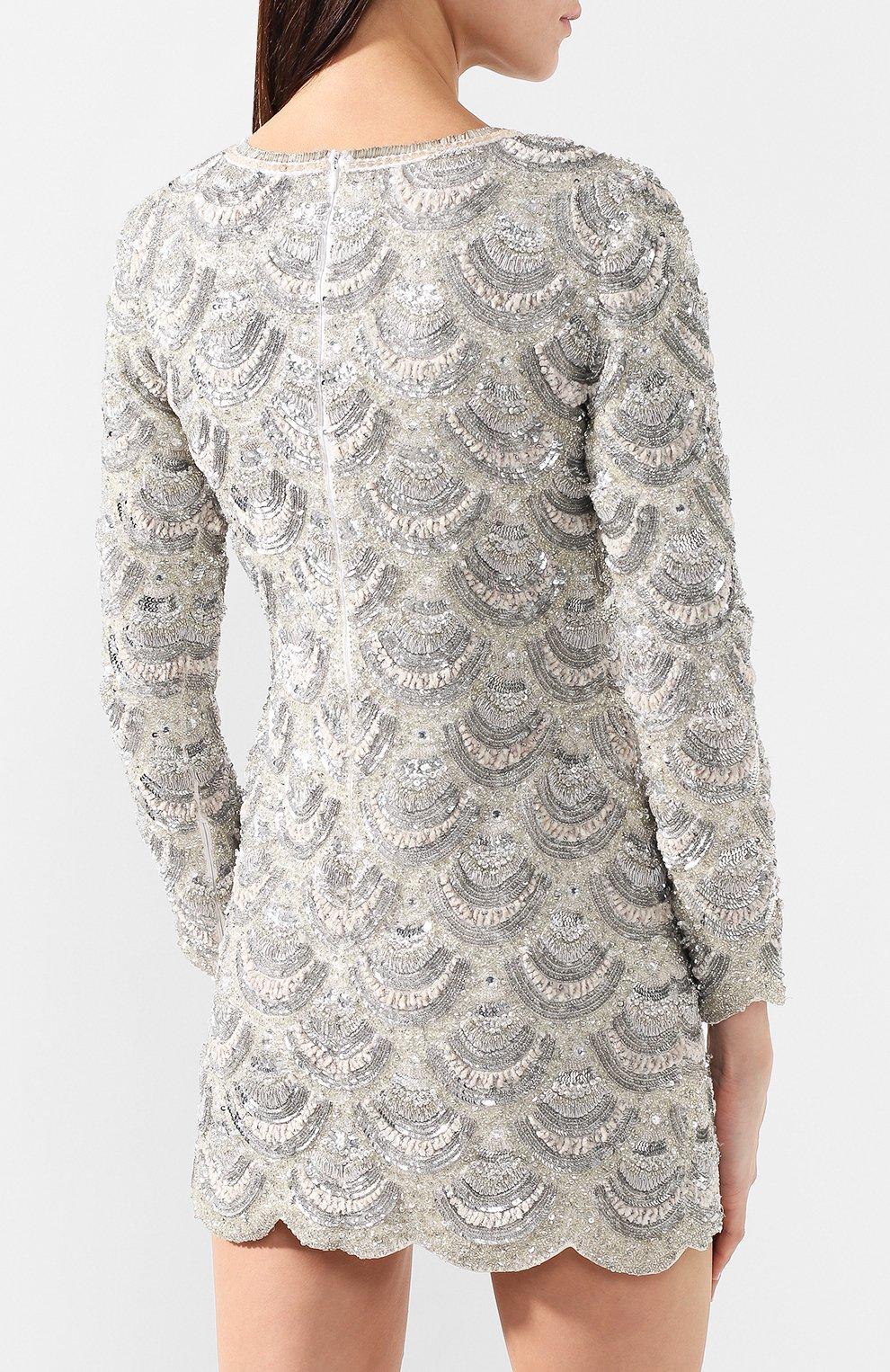 Мини-платье Retrofête серебряное | Фото №4