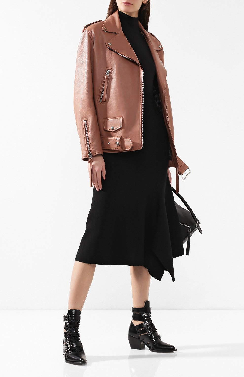 Кожаная куртка с поясом | Фото №2