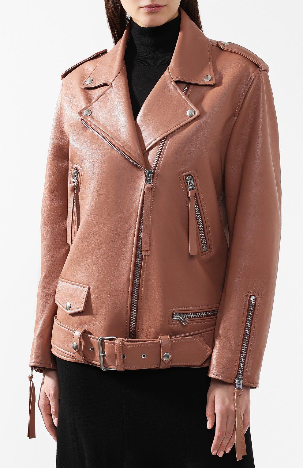 Кожаная куртка с поясом | Фото №3