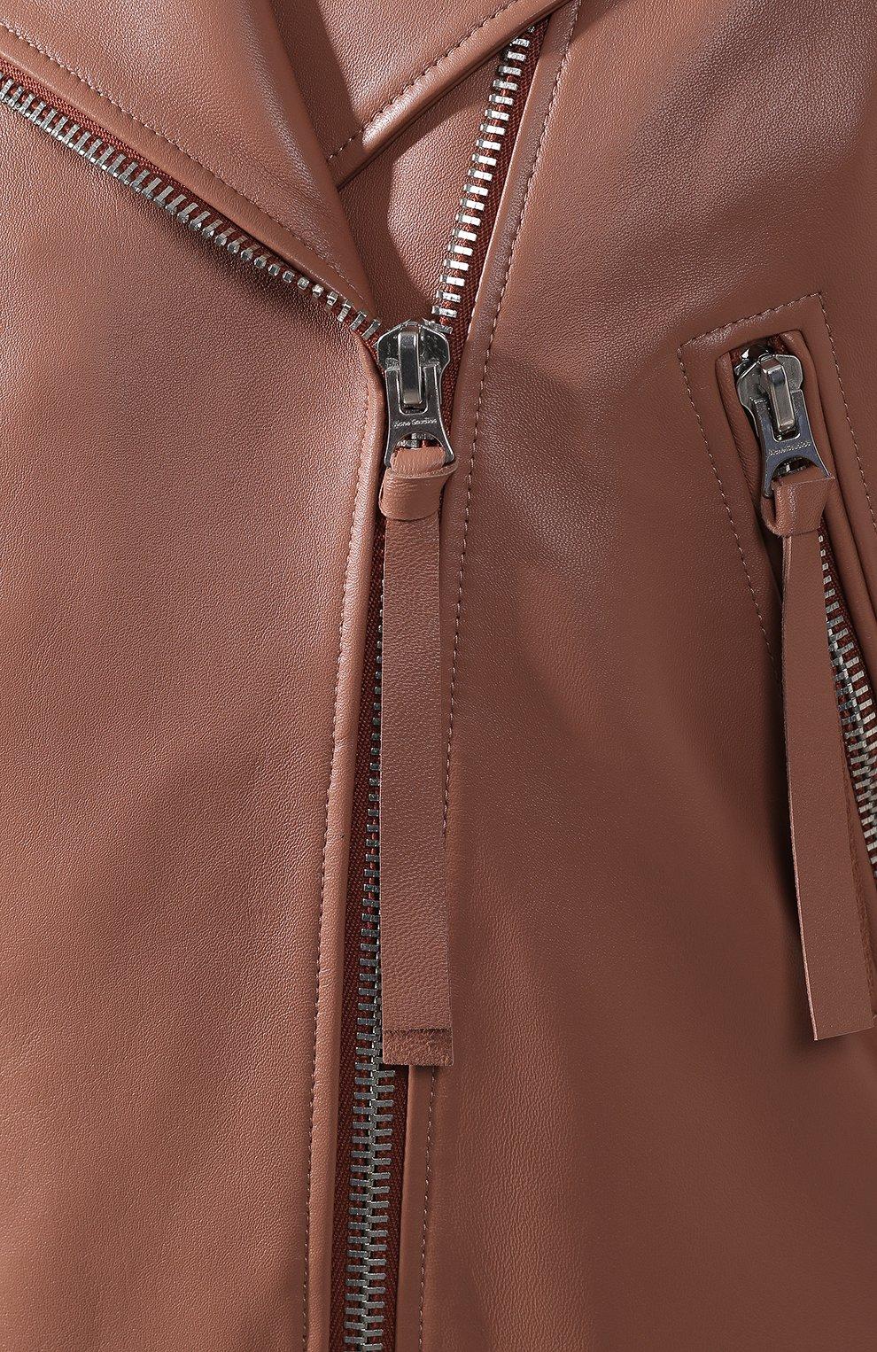 Кожаная куртка с поясом | Фото №5