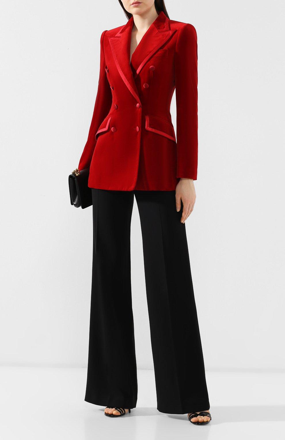 Бархатный жакет Dolce & Gabbana красный | Фото №2