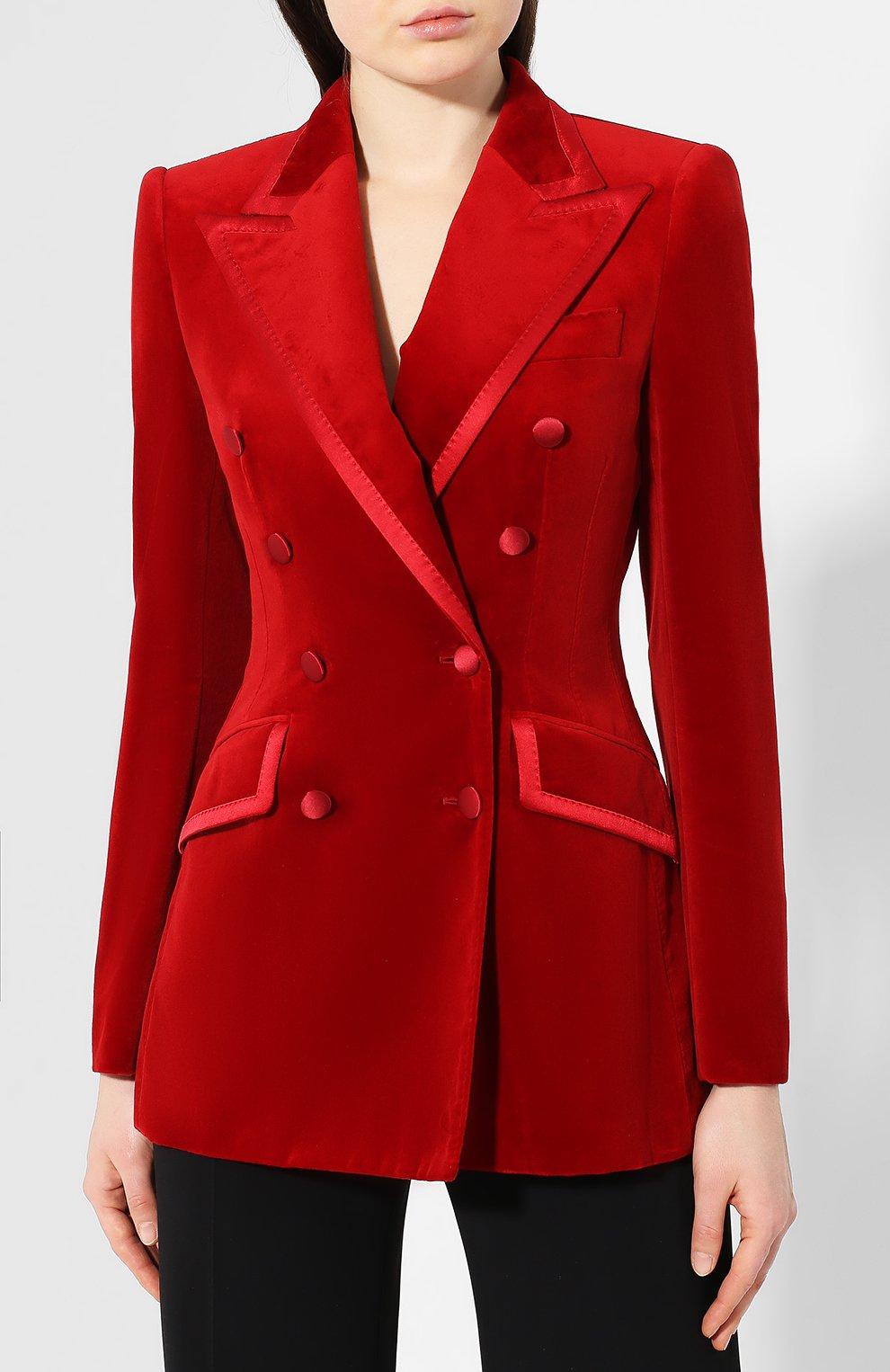 Бархатный жакет Dolce & Gabbana красный | Фото №3