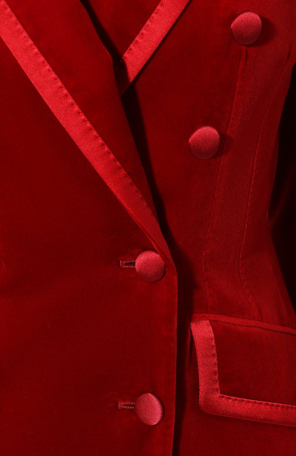 Бархатный жакет Dolce & Gabbana красный | Фото №5