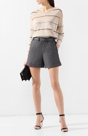Женские хлопковые шорты BRUNELLO CUCINELLI темно-серого цвета, арт. M0H91P6907 | Фото 2