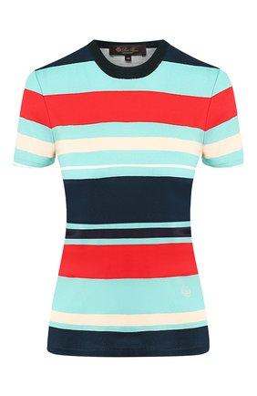Женская хлопковая футболка LORO PIANA синего цвета, арт. FAI5047 | Фото 1
