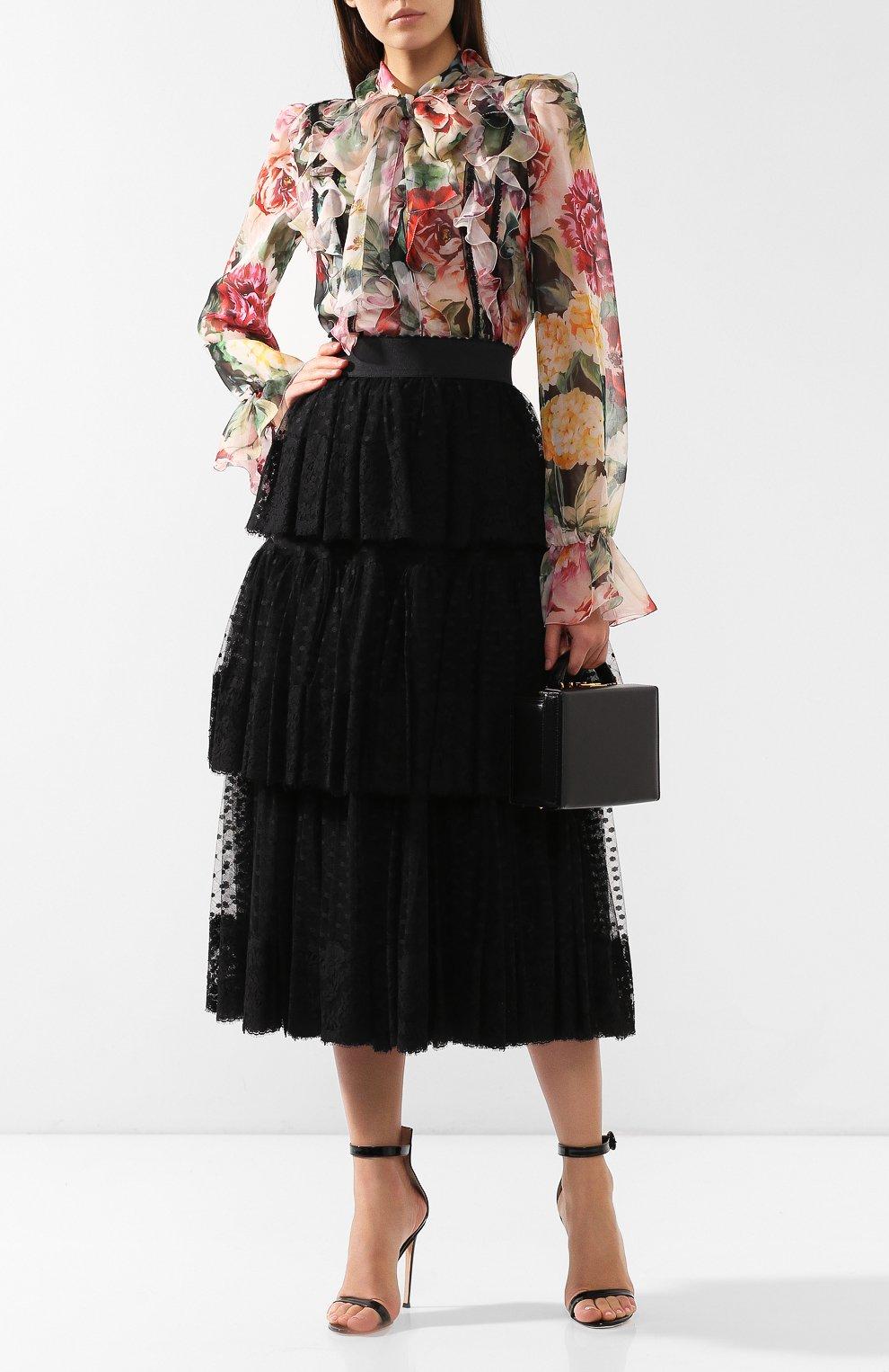 Блузка из смеси шелка и хлопка Dolce & Gabbana разноцветная | Фото №2
